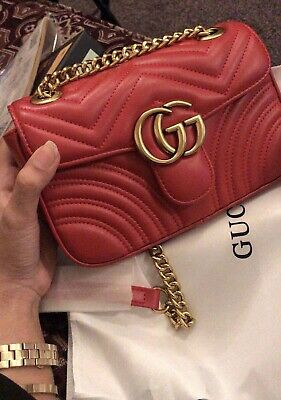4c8059e625d2 Gucci GG Marmont Medium Matelasse Shoulder Bag Red. New With Box And  Receipt.