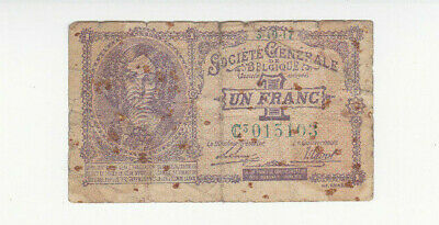 1 Franc Vg Banknote From German Occupied Belgium 1916!pick-86