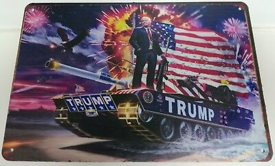 Large Donald Trump Metal Sign MAGA US Flag War Tank World Battle London Visit UK