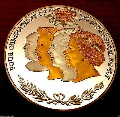 Royal Family Gold & Silver Coin British Queen Elizabeth II House of Windsor King