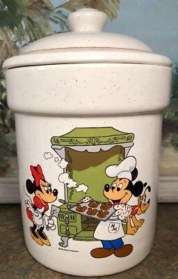Disney Cookie Jars >> Walt Disney Cookie Jar Canister Mickey Mouse Minnie Vintage Rare Treasure Craft