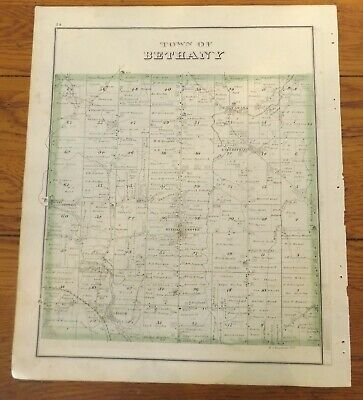 1876 NY Town of Bethany Genesee Co Atlas Map