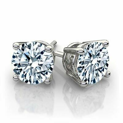 4CT Round Cut CZ Cubic Zirconia Stud Earrings ( ScrewBack) In Sterling Silver