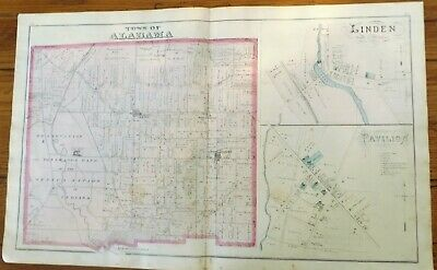 1876 NY Town of Alabama Villages Linden Pavilion E Bethany Genesee Co Atlas Map