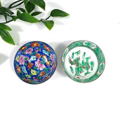 """Set of 2 Antique China Chinese Hand Painted Floral & Dragon Design Cups 2"""" GREAT"""