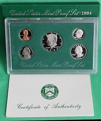 1994 United States Mint ANNUAL 5 Coin Proof Set Original with Box and COA