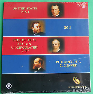 2011 Presidential $1 Coin Uncirculated Set 8 Golden BU Dollars US Mint SEALED