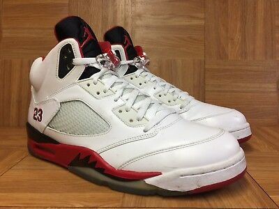 sneakers for cheap 0f719 b7592 EUC🔥 Nike Air Jordan V 5 White Fire Red Black Tongue Sz 13 Leather 136027