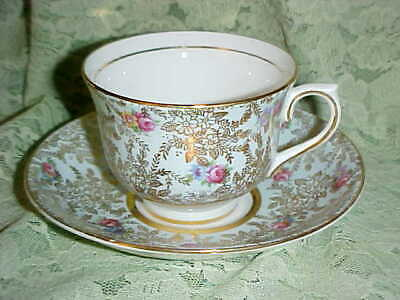 Vintage! Colclough Bone China Rose Chintz  Light Blue Cup & Saucer... England