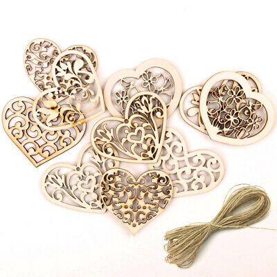 10pcs Hollow Cute Heart Pattern Hanging Ornament Wood Slices DIY Craft Gift New