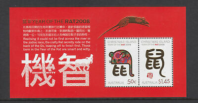 Mint 2008 Christmas Island Xmas Island Lunar Year Of The The Rat Mini Sheet Muh
