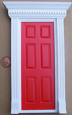 1:12 Scale Red Painted Wooden Fairy Opening Front Door Dolls House Accessory 696