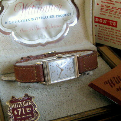 Mens Mint NOS 1940s Longines WITTNAUER 14K SOLID GOLD Watch & Box, Band, Papers