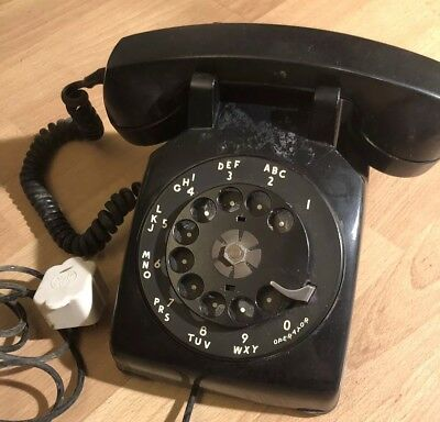 VINTAGE 1950'S BELL SYSTEMS by WESTERN ELECTRIC, BLACK ROTARY DESK PHONE C/D 500