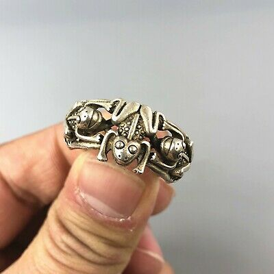 Rare Chinese Collectible Old Antique Tibet Silver Handwork 3 Frogs No.9.5 Ring