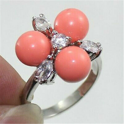 Wedding Jewelry 8mm Genuine South Sea Shell Pearl Crystal 18KGP Ring Size 7/8/9