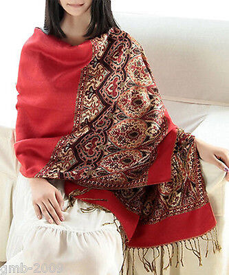 New Sexy Fashion red Pashmina Cashmere Womens Scarves Paisley Stole Shawl Wrap