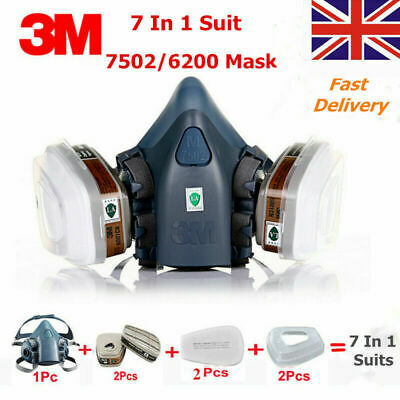 7-in-1 Suit 3M 6200 7502 Respirator Mask Industry Painting Spray Dust Masks UK