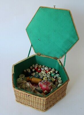 Vintage Retro 50s/60s WICKER SEWING BOX Woven Cane Basket WITH CONTENTS Hexagon