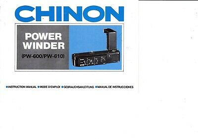 Genuine Original Chinon  Camera Power Winder Pw-600 Pw-610 Manual