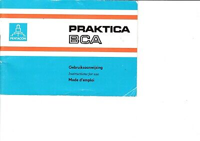Genuine Original Praktica  Bca Camera Operating Instructions Manual