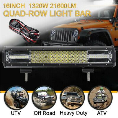 16 Inch Quad-row LED Work Light Bar Combo Offroad SUV Car Truck Boat SUV +