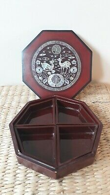 Vintage Chinese Lacquer Mother Of Pearl 8 Sides Segmented Box