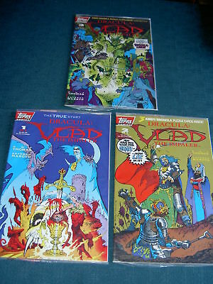 DRACULA, VLAD THE IMPALER :COMPLETE 3 ISSUE SERIES, ALL SEALED + TCs. TOPPS.1993