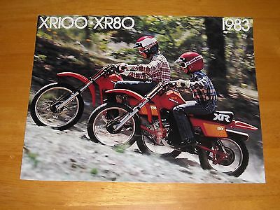 1983 Honda XR100 XR80 Sales Brochure advertising pamphlet 4-page booklet