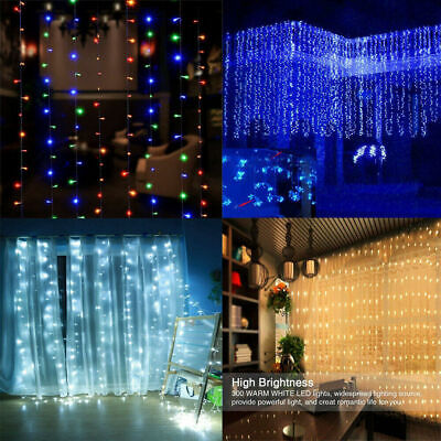 300 LED 8 Modes Curtain Lights Fairy USB String Remote Wall Light Wedding Party