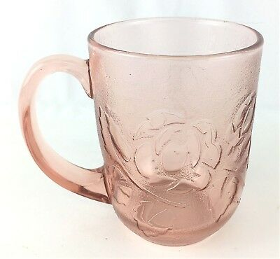 Vintage Arcoroc France Frosted Embossed Pink Rose Rosaline Rosa Glass Coffee Cup