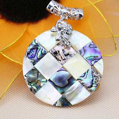 50MM Multi-Color Natural Abalone Shell Pendant Women Jewelry