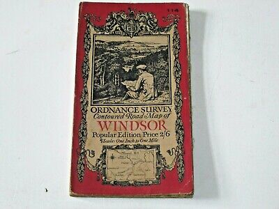 "OLD 1"" ORDNANCE SURVEY MAP  1918 No. 114 WINDSOR 1920 CLOTH"