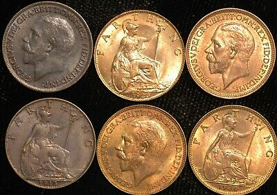 Farthing George V 1911 - 1925  EF-UNC Some Red Lustre Choose Your Date