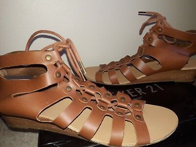293b469a8ea Forever 21 Women s Lace Up Brown Leather Wedge Gladiator Sandals Shoes Size  ...
