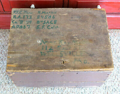 Old Primitive Wood Shipping Box Crate Postal USPS Parcel Post Insured APO NEAT!
