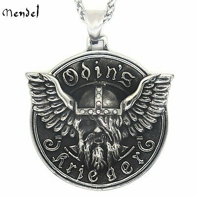 MENDEL Mens Viking Stainless Steel Odin Norse God Amulet Necklace Pendant Myth