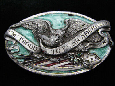 Qb11134 Vintage 1983 *I'm Proud To Be An American* Patriotic Pewter Belt Buckle