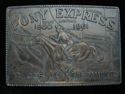 QC01130 VINTAGE 1970s *PONY EXPRESS ST. JOE TO SACRAMENTO* OLD WEST BELT BUCKLE