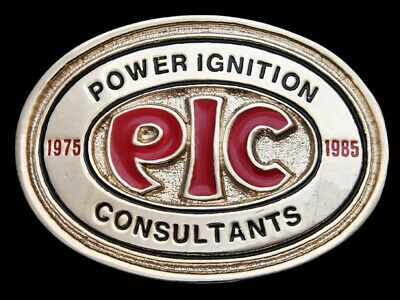 Ma07104 Vintage 1985 **Pic** Power Ignition Consultants Belt Buckle