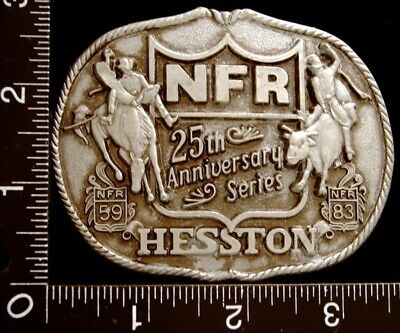 LL18177 COOL 1983 **NFR RODEO 25th ANNIVERSARY** HESSTON BELT BUCKLE