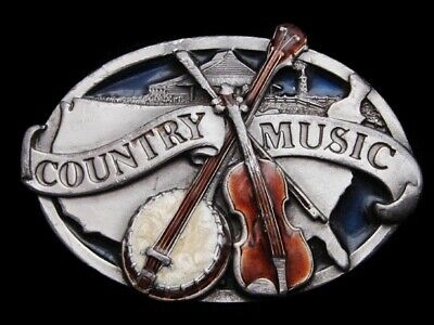 Ll31133 Vintage 1984 **Country Music** Oval Pewter Commemorative Belt Buckle