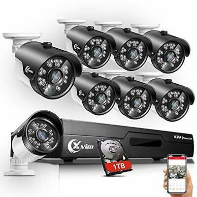 XVIM 8CH 1080P Security Camera System Outdoor 8pcs HD 1920TVI with 1TB HDD