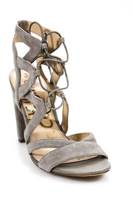 5af13e7bbb1d49 Sam Edelman Womens Yardley Strappy Block Heel Lace Up Pumps Gray Suede Size  9.5