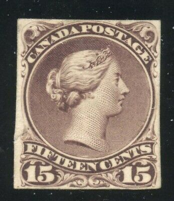 Canada 1868 Large Queen 15c pale purple Plate Proof on Card #29P