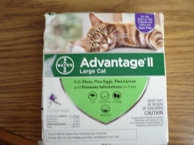 NEW  2 Doses, Bayer Advantage II Flea Treatment for Large Cats Over 9 lbs.