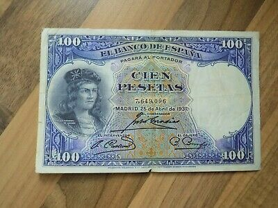 Old Spain Banknote -  100 Pesetas 1931