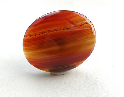Antique Victorian Large Carnelian Banded Agate Cabochon Stone Brooch Pendant
