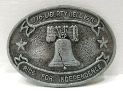 VTG Bicentennial 1776-1976 Liberty Bell Ring for Independence Oval Belt Buckle