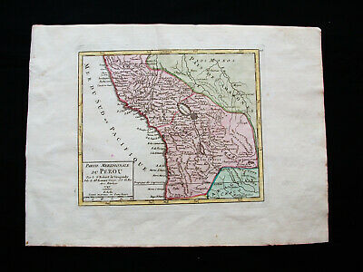 1749 VAUGONDY - orig. map: SOUTH AMERICA, PERU, LIMA BOLIVIA BRAZIL CHILE LA PAZ